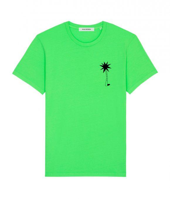 Fata unui tricou verde neon din bumbac pentru barbati printat cu un palmier stilizat negru in partea dreapta sus.