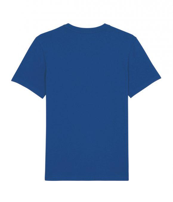 Spatele unui tricou unisex de culoare albastra cu maneci scurte si guler rotund.