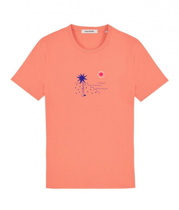 Front of a coral t-shirt with blue palm tree and the beachlife is the good life message placed around a small red circle.