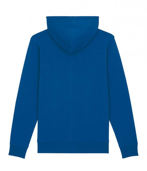 The back of a blue cotton unisex hoodie by romanian designer Mauverien.