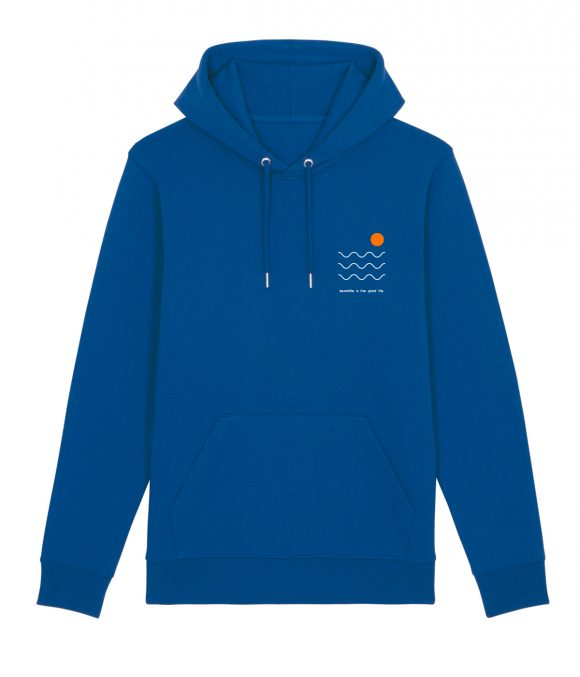 Front of a blue cotton unisex hoodie with 3 white wavy lines, small orange circle and beachlife is the good life message.