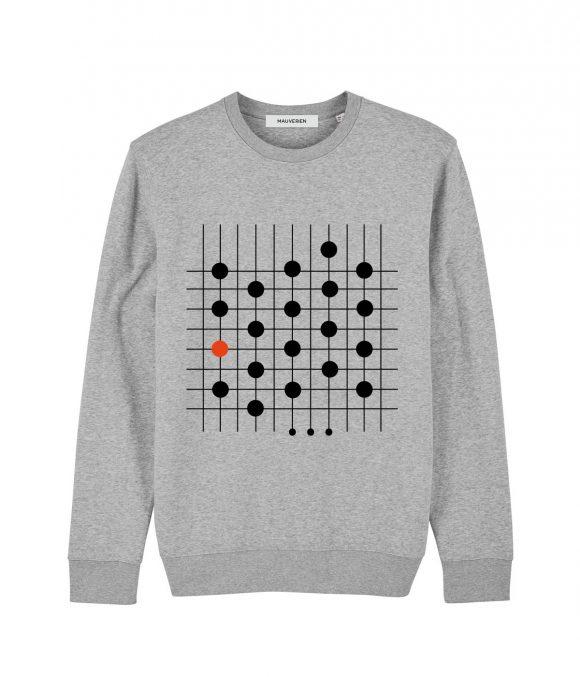 Fata unei bluze din bumbac gri cu imprimeu negru cu buline conectate prin linii verticale si orizontale.