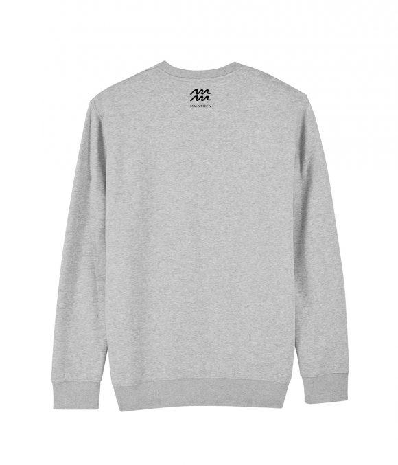 Spatele unei bluze din bumbac gri cu guler rotund si maneci lungi imprimata in zona gatului cu logo Mauverien.