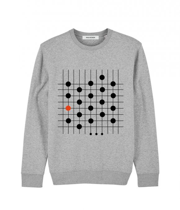 Front of a grey unisex cotton sweatshirt printed with 19 black dots & 1 red dot placed on vertically & horizontally lines.