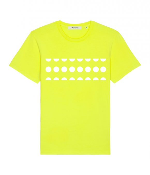 The front of a neon yellow cotton t-shirt with white dots printed on the chest.