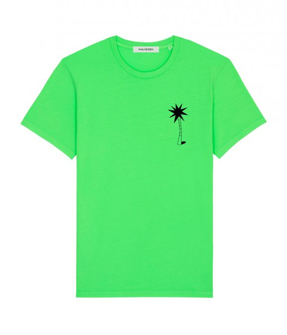 The front of a neon green cotton unisex t-shirt with round neck and black print of a palm tree placed on the chest top left.