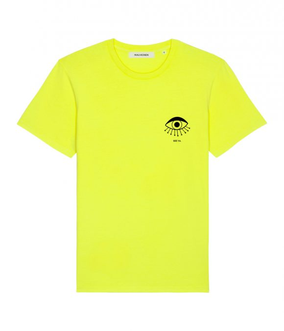 The front of a neon yellow organic cotton t-shirt with black print of an eye with message see ya, placed in the upper-left.