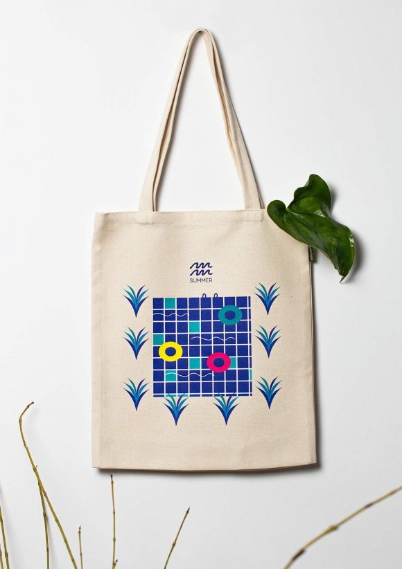 Cotton tote bag with a illustration of a blue swimming pool.