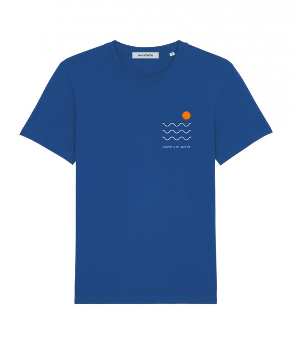 Front of a blue cotton t-shirt with 3 wavy lines, orange circle & the message beachlife is the good life, printed top left.