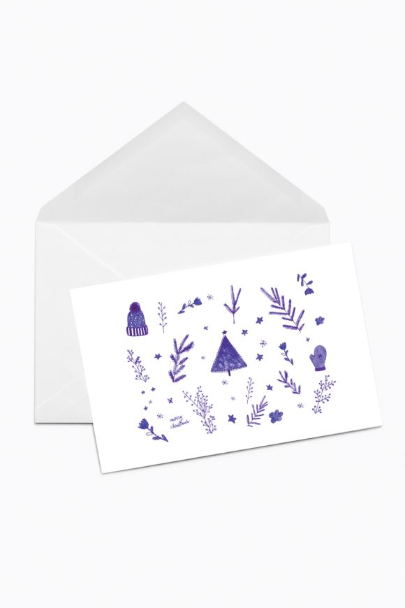 Christmas card with blue elements on white background.