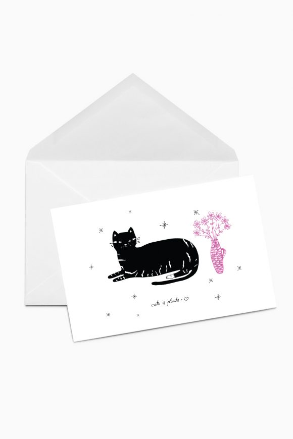Greeting card with a illustrated black cat and pink flowers on white background.