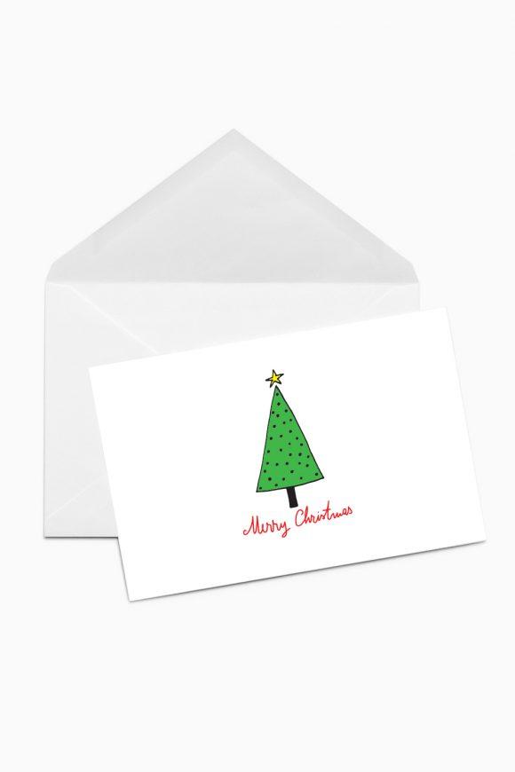 Christmas card with green christmas tree.
